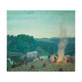 Campfire, 1916 Giclee Print by Boris Michaylovich Kustodiev