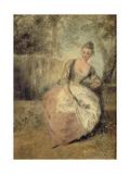 L'Amante Inquiète, 1716-1720 Giclée-tryk af Jean Antoine Watteau