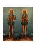 Venerable Onuphrius and Saint Peter of Mount Athos, 1902 Giclee Print by Vasily Pavlovich Guryanov