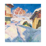 Capolago in Winter with a View of Piz Lagrev, 1928 Giclee Print by Giovanni Giacometti