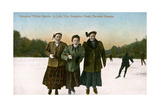 Canadian Winter Sports: a Jolly Trio, Grenadier Pond, Toronto, Canada, 20th Century Giclee Print