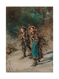 Children with Brushwood Giclee Print by Anton Romako