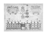 View of the Royal Exchange with Coats of Arms Above, City of London, 1569 Giclee Print