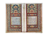 Double Page Spread from a Koran with Illuminated Borders, North Indian, 1838 Giclee Print