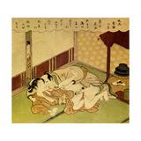 Two Lovers (Shunga - Erotic Woodblock Prin), C. 1750 Giclée-tryk af Suzuki Harunobu