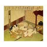 Two Lovers (Shunga - Erotic Woodblock Prin), C. 1750 Wydruk giclee autor Suzuki Harunobu