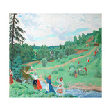 Hay Making, 1917 Giclee Print by Boris Michaylovich Kustodiev