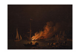 Ship on Fire at Night, Ca 1756 Giclee Print by Charles Brooking