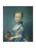A Girl with a Kitten, 1745 Giclee Print by Jean-Baptiste Perronneau