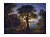 Castle by the River, 1820 Giclee Print by Karl Friedrich Schinkel
