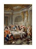 The Oyster Meal, 1735 Giclée-tryk af Jean-François de Troy