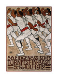 56th Federal Gymnastics Festival in Basel, 1912 Giclee Print by Eduard Renggli the Younger