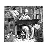 Monk at Work on a Manuscript in the Corner of a Scriptorium, 15th Century Giclee Print