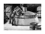 Adding Hops to Boiling Beer in an American Brewery, 1885 Giclée-tryk