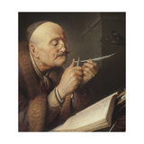 Scholar Sharpening a Quill Pen Giclee Print by Gerard Dou