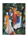Four Girls, 1912-1913 Giclee Print by August Macke