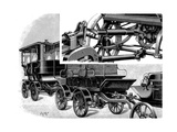Renard's Automobile Train, Showing Coupling and a Train of Wagons, 1904 Giclee Print