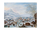 Winter Scene with Skaters Giclee Print by Jan Griffier