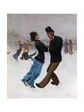 Ice Skaters, C. 1920 Giclee Print by Max Klinger