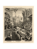 Gin Lane (Beer Street and Gin Lane), 1751 Giclée-tryk af William Hogarth