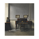 Ida in an Interior with Piano Giclee Print by Vilhelm Hammershoi