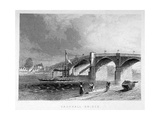 View of Vauxhall Bridge with a Steamboat on the Thames, London, C1847 Giclee Print