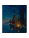 Sails at Night Giclee Print by Alexander Fyodorovich Gaush