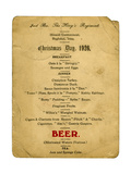 Christmas Day Menu, 2nd Battalion the King's Regiment, Iraq, 1926 Giclee Print