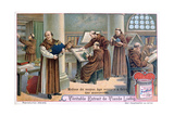 Monks at Work on Manuscripts in a Scriptorium, C1900 Giclee Print