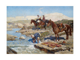 Cherkessian Horseman Crossing the River Giclee Print by Franz Roubaud