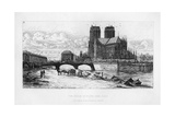 The Abside (Aps) of Notre Dame Cathedral, Paris, France, C19th Century Giclee Print by Charles Meryon