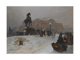 The Anichkov Bridge on Nevsky Prospekt at Dusk Giclee Print by Paolo Sala