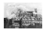 Cathedral of Reims on Fire from German Shelling, France, 1914 Giclee Print