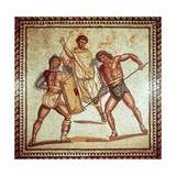 Gladiators in the Arena, Roman Mosaic, Saarbrucken, Germany Giclee Print