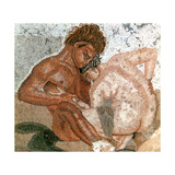 Mosaic of a Satyr and Nymph, House of Faun, Pompeii, Italy Giclee Print