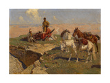 Caucasian Riders at Rest, 1917 Giclee Print by Franz Roubaud