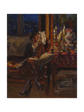 Lady with Book in an Interior, 1917 Giclee Print by Sergei Arsenyevich Vinogradov