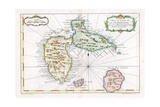 Map of the Caribbean Island of Guadeloupe, C1764 Giclee Print