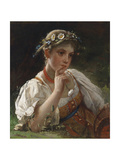 Young Girl with a Garland Giclee Print by Firs Sergeevich Zhuravlev