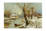 Winter River Landscape, 1897 Giclee Print by Juli Julievich Klever