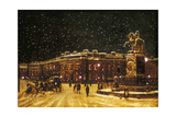 View of Snow Falling at Charing Cross at Night, C1851 Giclee Print