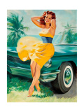 Pin-Up in Yellow Dress, 1950S Giclee Print by William Medcalf