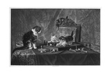 Cats Playing with a Chessboard Giclee Print
