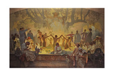 The Oath of Omladina under the Slavic Linden Tree (The Cycle the Slav Epi) Giclee Print by Alphonse Mucha