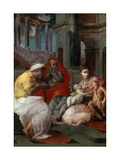 The Holy Family with John the Baptist and Saint Elizabeth, 1541 Giclee Print by Francesco Primaticcio