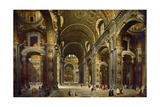 Cardinal Melchior De Polignac Visiting the Basilica of Saint Peter in Rome Giclee Print by Giovanni Paolo Panini