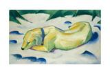 Dog Lying in the Snow Reproduction procédé giclée par Franz Marc
