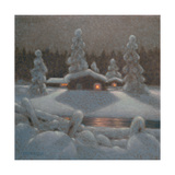 Winter Night Giclee Print by Bror Lindh