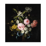 Bouquet of Chamomile, Roses, Orange Blossom and Carnations Tied with a Blue Ribbon Giclee Print by Jean-Baptiste Monnoyer