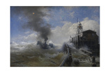 Towboat Leaving the Port of Ostend at Heyday, before 1882 Giclee Print by Andreas Achenbach